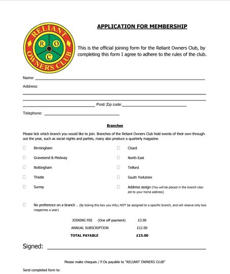 Reliant Owners Club - Joining Form